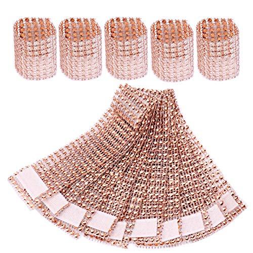 MUMIAO Rhinestone Napkin Rings Napkin Mesh Wedding Adornment, Napkin Holder for Banquet Birthday Wedding Party (Rose 60 Pcs)