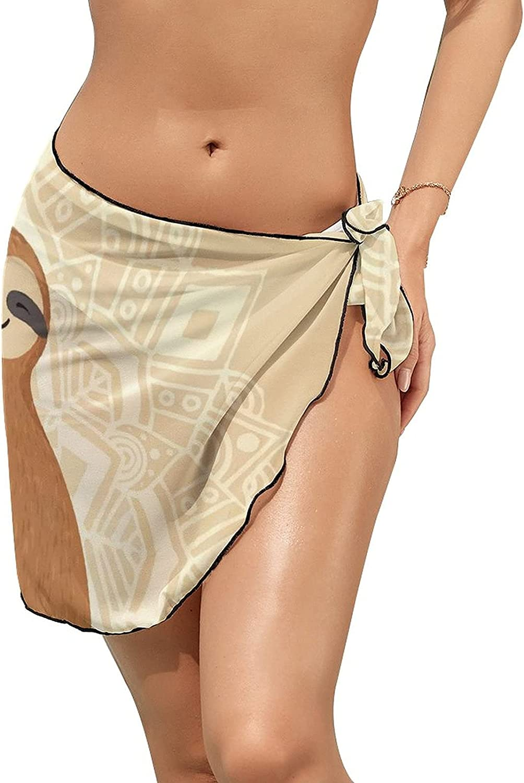 JINJUELS Women Beach Wrap Sarong Cover Up Funny Sloth Tribal Mandala Flower Sexy Short Sheer Bikini Wraps
