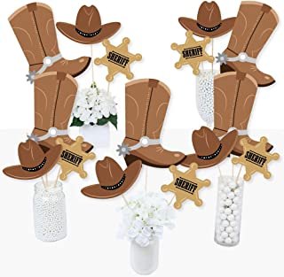 Big Dot of Happiness Western Hoedown - Wild West Cowboy Party Centerpiece Sticks - Table Toppers - Set of 15