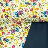 Stoffe Werning Softshell Digitaldruck Blumenmuster bunt