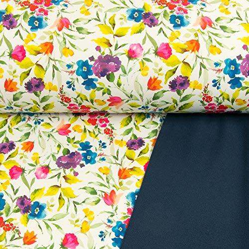 Tejido Werning Softshell con impresión Digital, diseño de Flores, Blanco, Certificado Öko-Tex, Precio válido para 0,5 Metros