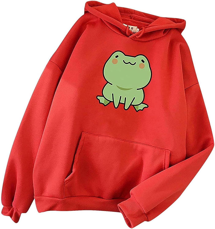 Frog Sweatshirt for Women Teen Girls Long Sleeve Splice Cute Cartoon Hoodies Tops Casual Pullover Sweatshirt