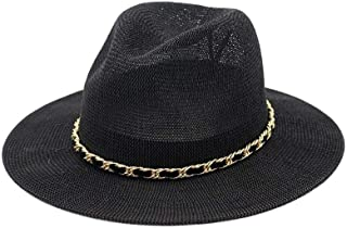 XinLin Du Spring Sun Hat Summer Couples Fedora Hat Sunshade Woven Hats Korean Velvet Chain Straw Hat England Top Hat Jazz Hat Visor
