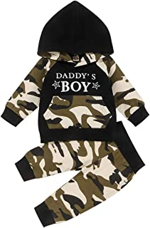 Happy Town Newborn Infant Baby Boys Long Sleeve Camouflage Daddy's Boy Hoodie Set Winter Fall Pants Set