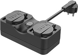 Meross WLAN outdoor stopcontact, waterdicht, Smart Home, intelligent wifi, buitenstopcontact met 2 uitgangen met app-afsta...