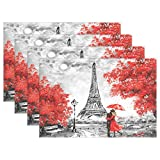 WOZO Romantic Paris Eiffel Tower Placemat Table Mat, France Oil Painting 12' x 18' Polyester Table Place Mat for Kitchen Dining Room Set of 4