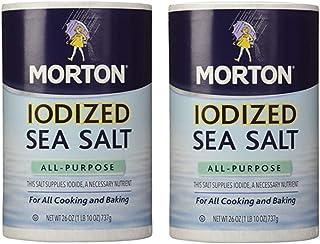 Morton Salt Iodized Sea Salt, 26 oz (2 Pack) w/ Custom F.O.Y Measuring Spoon