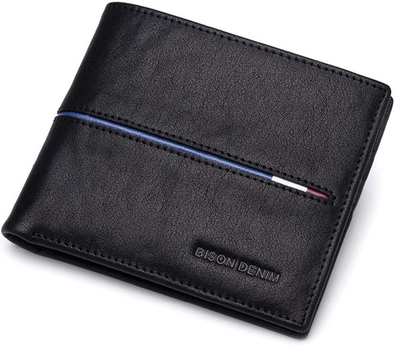 KHGUDS Genuine Leather Wallet Men Brand Fashion Short Purses Male Gift Id Credit Card Holder Slim Bifold Wallet Men