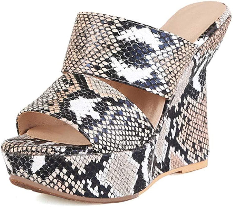 Donna Fondo spesso Cuneo Seali, Piattaforma Impermeabile Bocca Pesce Open toe Tacco alto Trascinamento della sabbia Moda Serpente Vestito Pantofole (Altezza Tacco  12,5 cm)