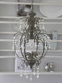Chic Antique * Gran araña, lámpara de techo, lámpara de techo, aspecto antiguo, shabby, 31 x altura 52 cm, lámpara de techo antigua, color gris