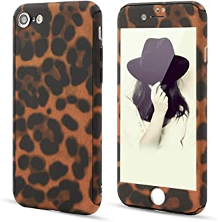 for iPhone 6 iPhone 6S Case,L-FADNUT 3in1 Stylish Leopard Cheetah Print Precise-Fit Premium PC Case and Tempered Glass Screen Protector Scratch Resistant Dual Layer Protective Case Coffee