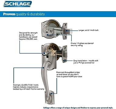 SCHLAGE Addison Single Cylinder Handleset and Plymouth Knob, Matte Black (F60 ADD 622 PLY)