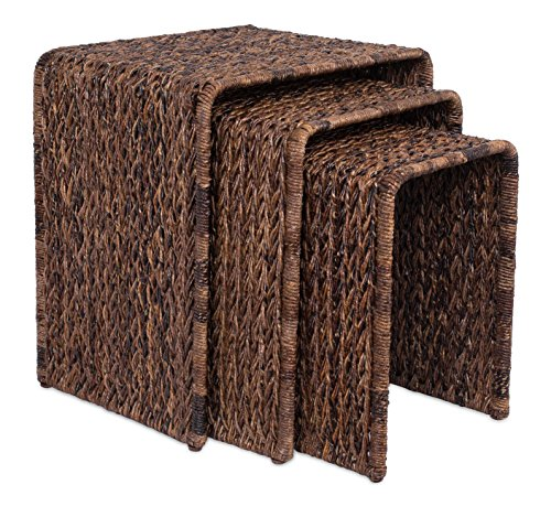 BIRDROCK HOME 3 PC Abaca Nesting Tables - Espresso Bed Sofa Snack End Table - Accent Side Table - Living Room - Hand-Woven