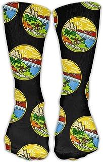 Bigtige, Hombres Mujeres Clásicos Calcetines deportivos Bandera del estado de Montana Calcetines deportivos personalizados negros 50cm de largo-Toda la temporada