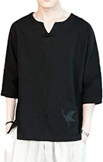 Energy Men's Plus Size Linen Chinese Style Embroidered Tees Pullover Top Black L