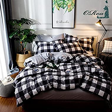 OTOB 3 Piece Cotton Duvet Cover Sets for Teens Adults Queen, Reversible Plaid Home Textile Bedding Set with Pillow Shams Black White