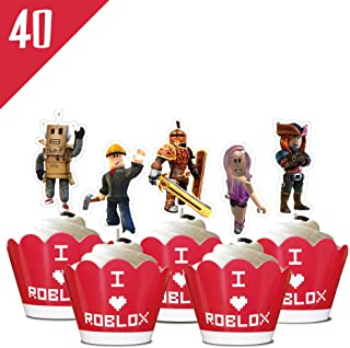 40 Roblox Liners Cupcake Toppers Birthday Party Supplies Cake Wrappers Decorations Set for Children by Phoenix Party
