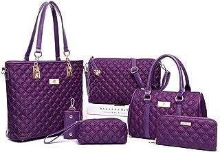 6 Piece Handbag Single Shoulder Diagonal Female Bag Satchels Top Handle Shoulder Crossbody Bags (Color : Purple, Size : L)