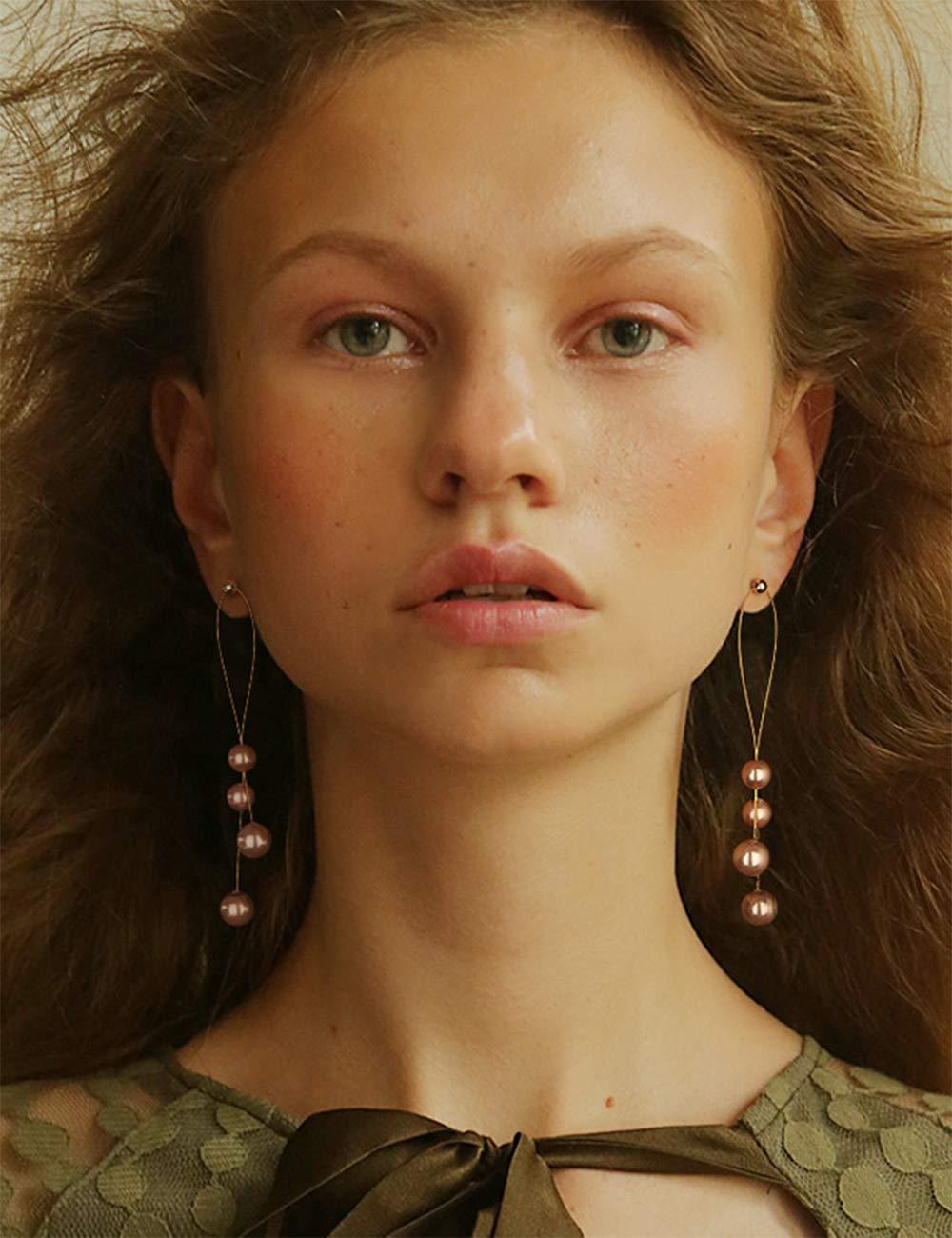 YERTTER Women Vintage Gold Pearl Statement Dangle Earrings Long Big Pearls Drop Earrings for Women Girls (Khaki)