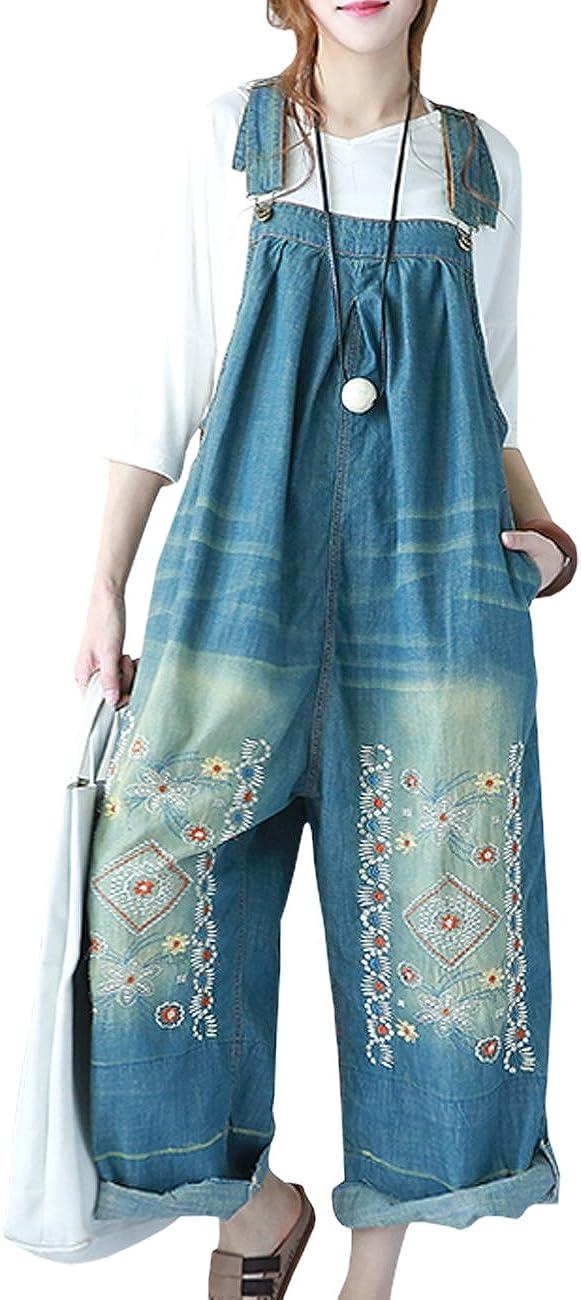 Beaurex Women Overalls 国産品 Jeans Cropped Wide Baggy Denim Loose SEAL限定商品 Leg
