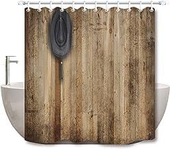 qhtqtt Cortina De Ducha Sombrero De Vaquero Que Cuelga En El Viejo Granero Rústico Cortina De Ducha Tela De Baño Impermeable para Decoración De Bañera De Arte 180X180Cm A