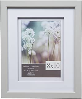 Gallery Solutions 8x10 Light Grey Wood Frame with Double White Mat For 5x7 Image
