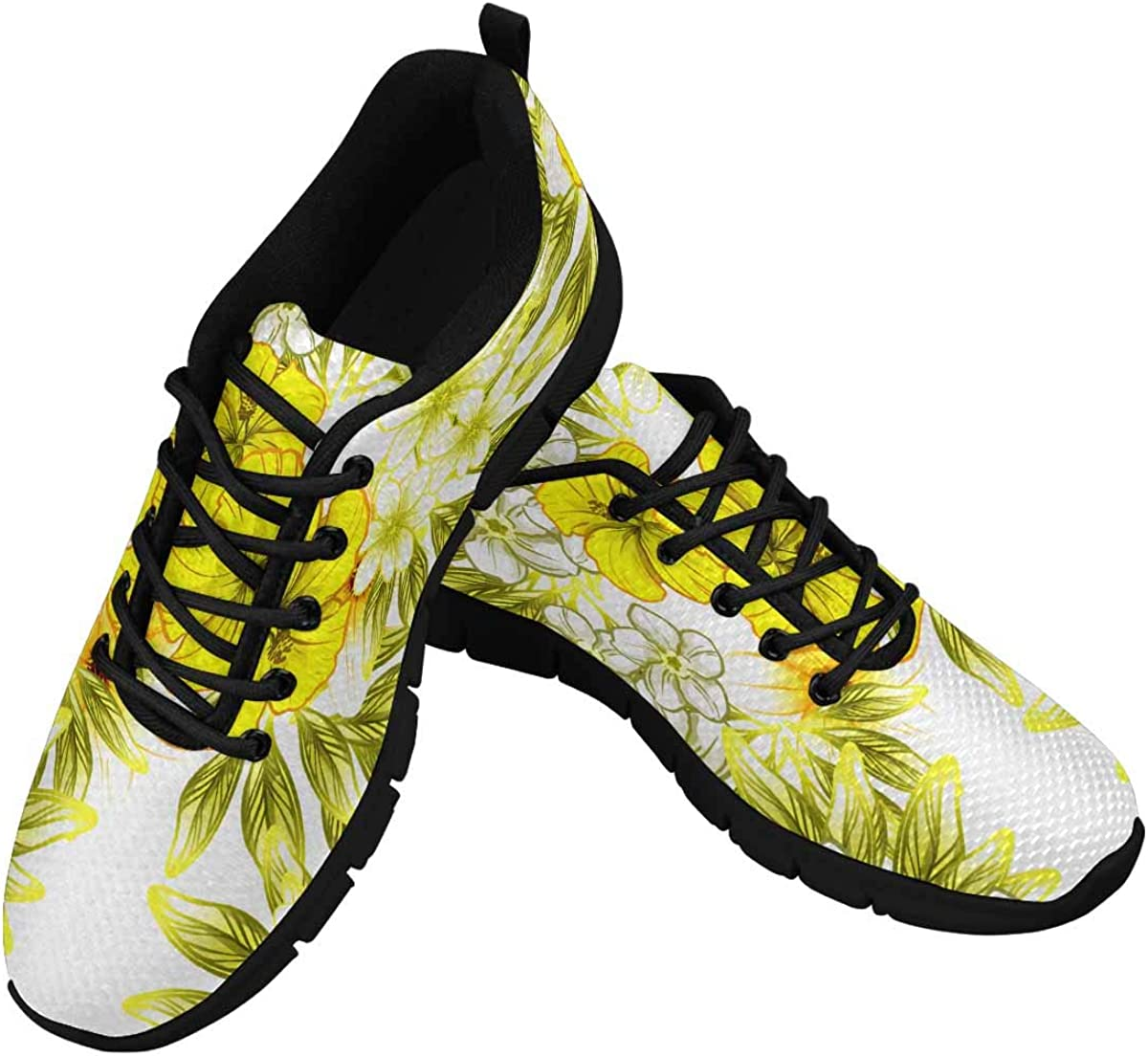 INTERESTPRINT Flower Print in Bright Colors Women's Lace Up Running Comfort Sports Sneakers