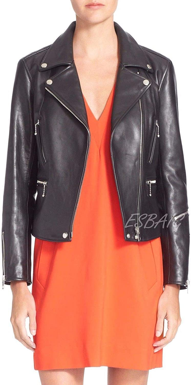 ESBAIG Womens Leather Jackets Stylish Motorcycle Bomber Biker Real Lambskin Leather Jacket for Women 522
