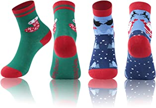 Christmas Socks, NIcool Unisex Printed Colorful Festive Fancy Christmas Holiday Design Soft Crew Socks for Kids and Adult