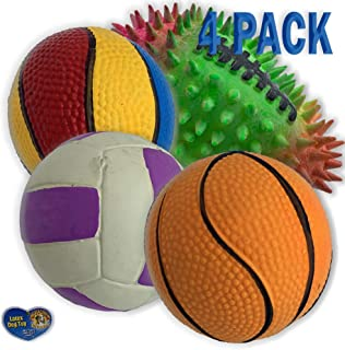 Amazing Pet 4 Pack of Latex Sport Ball Squeak Toys for Dogs and Cats 1 2.5 inch Soccer Ball 1 3 inch Volley Ball 1 3 inch Basketball and 1 2.5 inch Rainbow Basketball