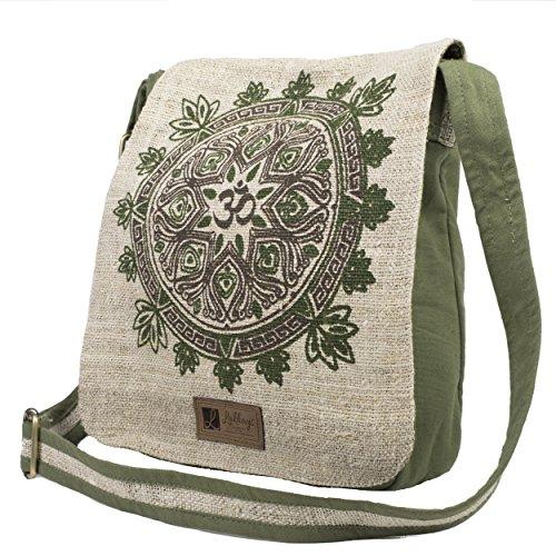 Natural Hemp-Cotton Eco Mandala Cross body Messenger Bag-Sage-One Size