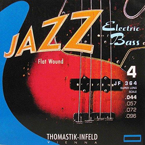 Thomastik-Infeld JF364 Bass Guitar Strings: Jazz Flat Wounds 4-String Super Long Scale Set; P. Nickel Flats G, D, A, E Set