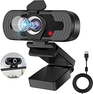Webcam with Microphone,Eocean Web Camera Computer Camera with Cover, Camera for computer, 1080p Webcam for Video Conferenc...