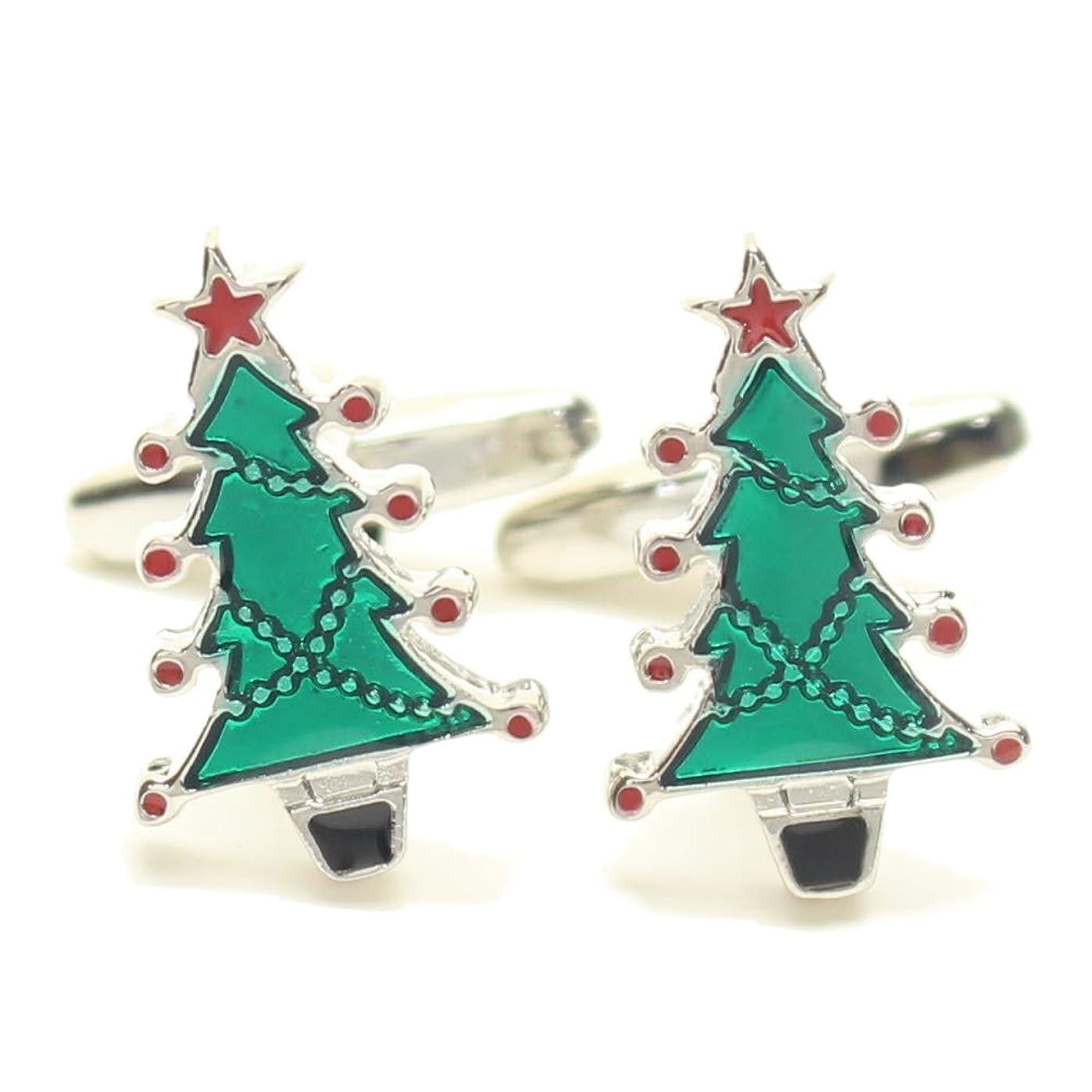 相談する振るさせる鮮やかグリーン緑のクリスマスツリーカフス カフリンクス カフスボタン