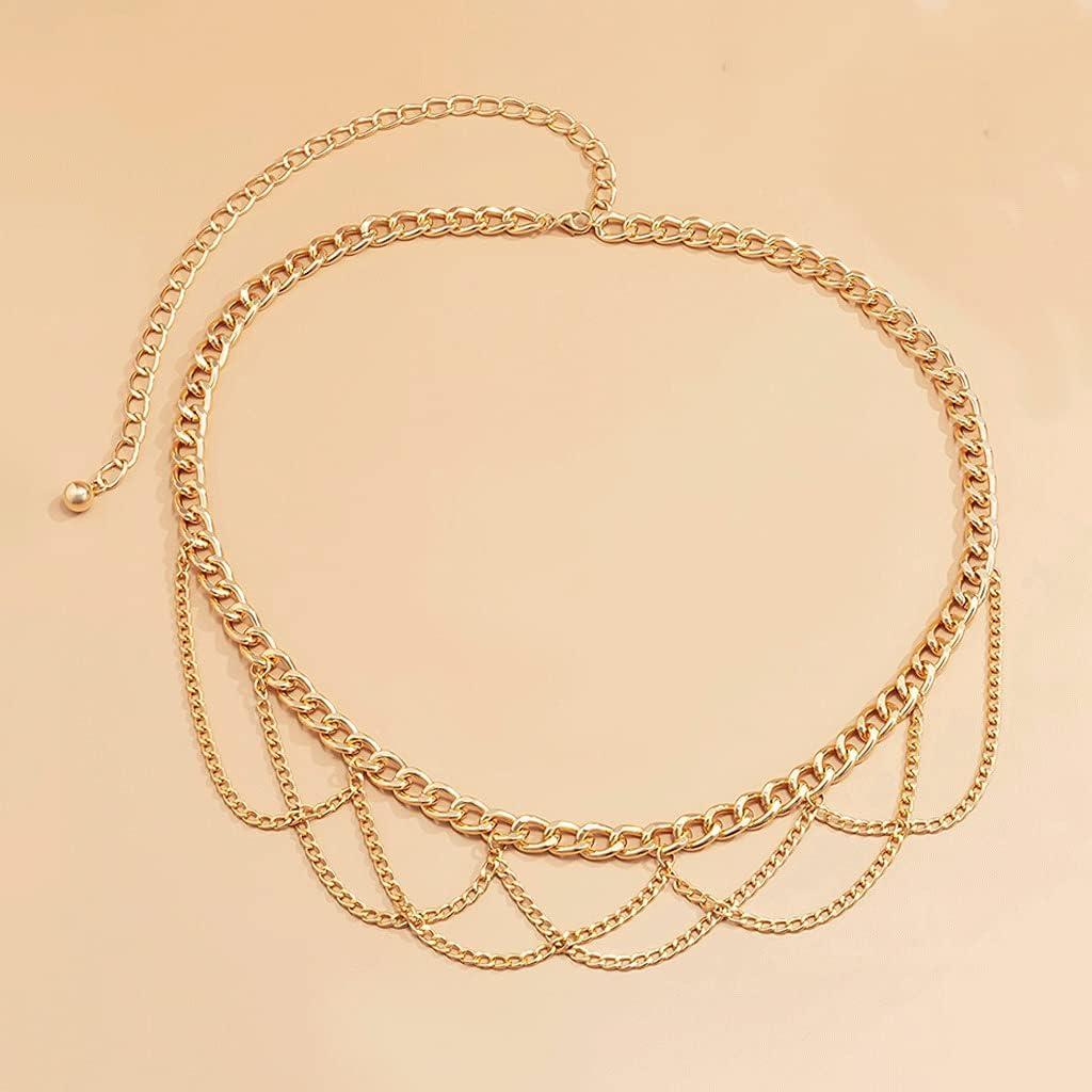 YFQHDD Multilayer Chain Belts for Washington Mall Women discount Body Metal S Waist