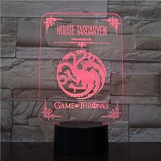 BTEVX Lámpara de ilusión 3D Luz de noche LED Casa Targaryen Logo Sensor táctil 7 Cambio de color Niño Niños Sangre y fuego Juego de tronos Lámpara de escritorio
