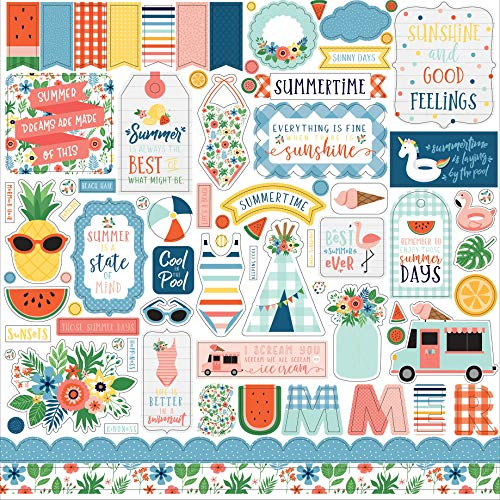 Carta Bella Paper Company SUM209014 Summertime Element Sticker Navy red Teal Yellow Green Pink