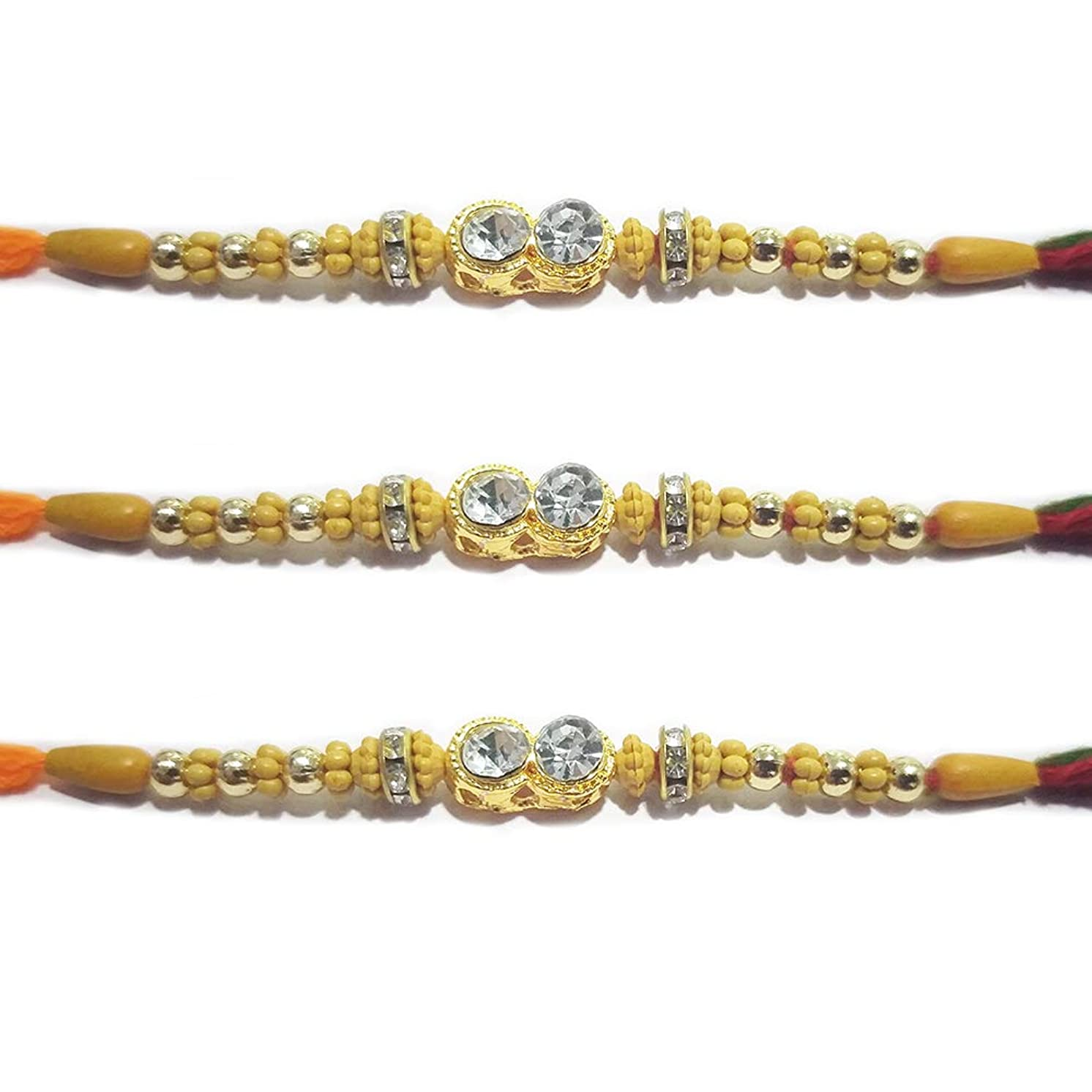 WhopperIndia Set of 3 Center Two Big Diampond and Small Beads Traditional Rakshabandhan Rakhee Bracelet Color and Design May Vary