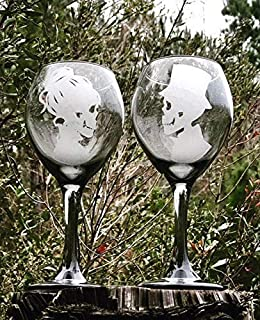 Two - 13.5 Oz, Black tinted wine glass, Hand Engraved, Skeleton Wine Glasses