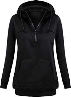 Women's Tunic Hoodies Long Sleeve Zip Up Sweatshirts Pullover Blouse Tops with Pocket
