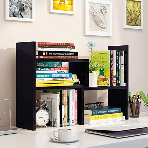 Wooden Life Wood Adjustable Desktop Storage Organizer Display Shelf Rack Office Supplies Desk Organizer Black