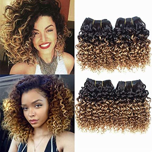 "Curly Hair 4 Bundles Short Human Hair Kinky Curly Weave Ombre Brazilian Virgin huamn Hair (50 Gram/Bundle 8 Inches ) (8""8""8""8"", 1B/30)"