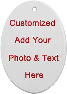 FKC DESIGN Personalized Custom Handmade Oval Ceramic Ornament - Add Photo Logo Text Double-Sided Printing,Christmas Tree Decor-ation Xmas Engagement Wedding Anniversary.