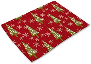 Sonomaplace LUYANhapy9 Christmas Series Table Mat, Christmas Santa Tree Print Rectangle Placemat Insulated Dish Bowl Mat, Xmas Home Decor 2