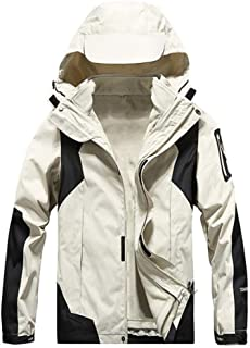 Ladies Jackets detachable outdoor cold climbing clothing two-piece windproof jacket Lbenlongfge (Color : Ivory, Size : XXXL)