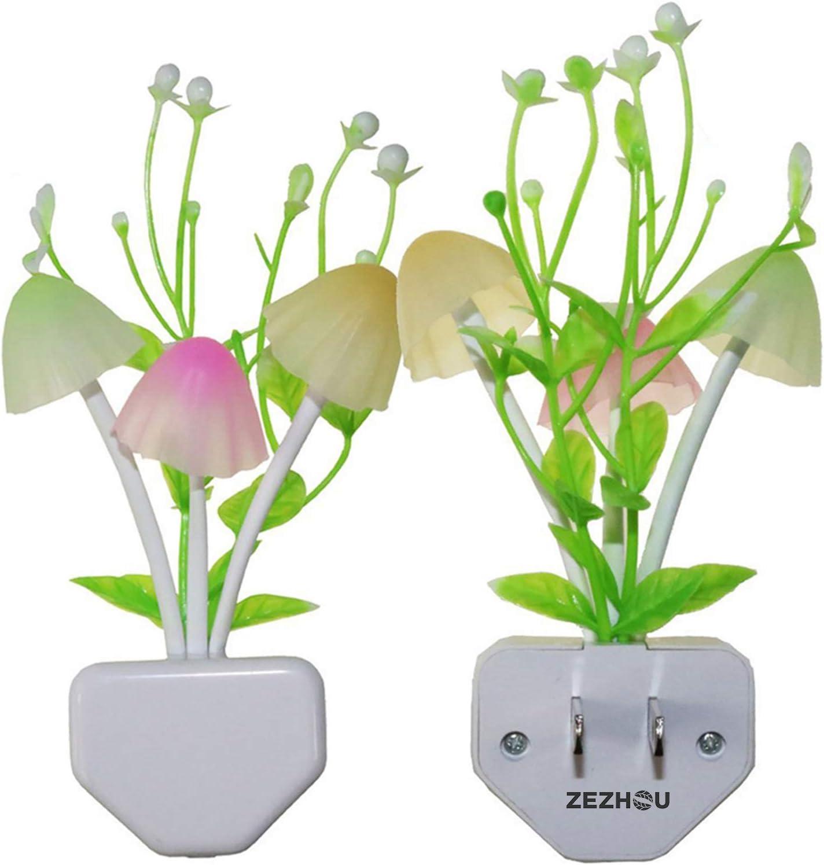 Zezhou Smart Sensor Led Night Lights 2 Pack, 7 Color Changing w/ Dusk to Dawn Sensor Auto On/Off Mushroom Dream Bed Nightlight, 0.6W Plug-in Wall Lamp, Gift Ideal for Nursery Baby Kids Children Adults