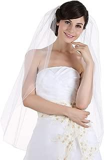 1T 1 Tier Pencil Edge Bridal Wedding Veil - White Fingertip Length 36