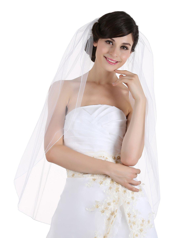1T 1 Tier Pencil Edge Bridal Wedding Veil (Fingertip Length 36
