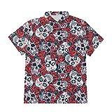 Ocuhiger Camisas con Botones A La Moda para Hombre Camisa Hawaiana con Estampado De Calavera Estampada En 3D Camisa Hawaiana De Manga Corta Hip Hop Beach Holiday Blusa Roja