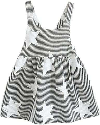 Fossen Niñas Vestidos Sin Mangas Patrón de Estrellas Verano Ropa